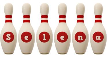Selena bowling-pin logo