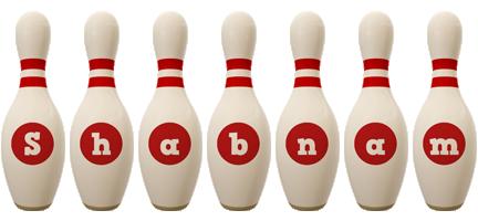 Shabnam bowling-pin logo