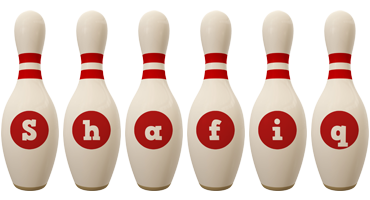 Shafiq bowling-pin logo