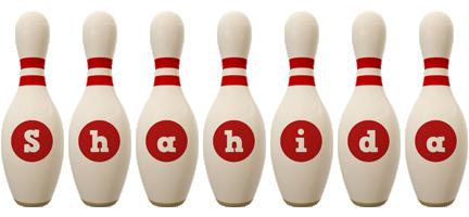 Shahida bowling-pin logo