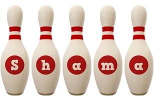 Shama bowling-pin logo