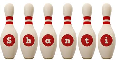 Shanti bowling-pin logo