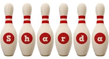 Sharda bowling-pin logo
