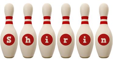 Shirin bowling-pin logo