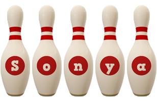 Sonya bowling-pin logo
