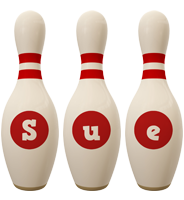 Sue bowling-pin logo