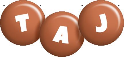 Taj candy-brown logo