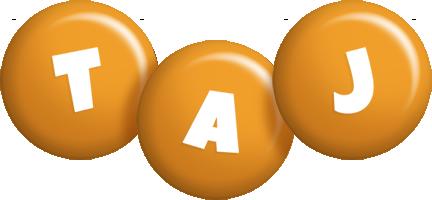 Taj candy-orange logo
