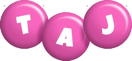 Taj candy-pink logo