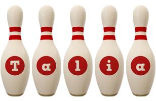 Talia bowling-pin logo