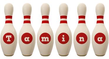 Tamina bowling-pin logo