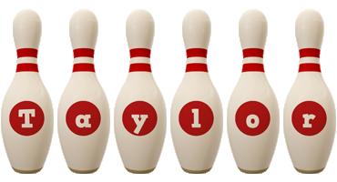 Taylor bowling-pin logo