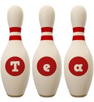 Tea bowling-pin logo