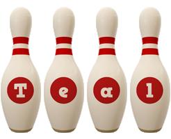 Teal bowling-pin logo