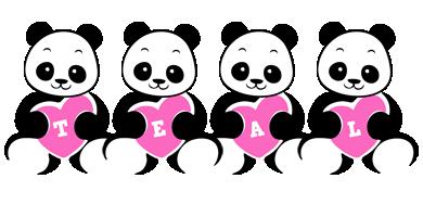 Teal love-panda logo