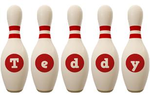 Teddy bowling-pin logo