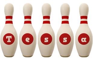 Tessa bowling-pin logo