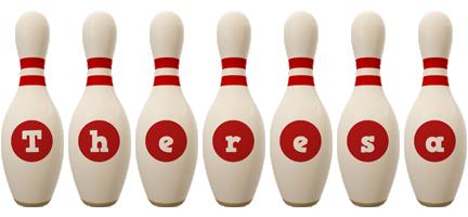 Theresa bowling-pin logo