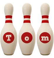 Tom bowling-pin logo