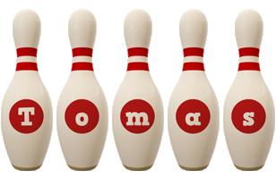Tomas bowling-pin logo