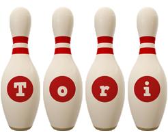 Tori bowling-pin logo