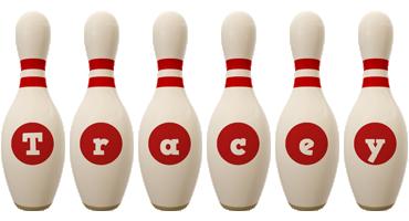 Tracey bowling-pin logo