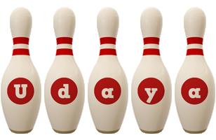 Udaya bowling-pin logo
