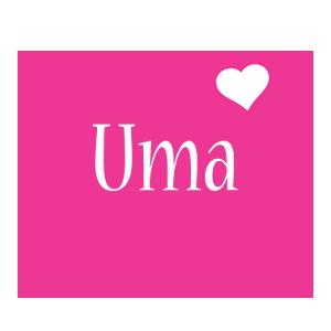 Uma love-heart logo