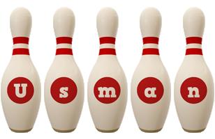 Usman bowling-pin logo