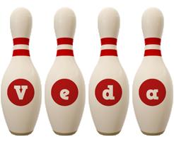 Veda bowling-pin logo