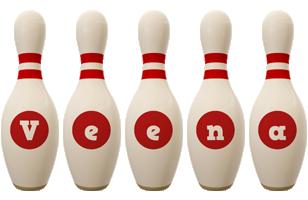 Veena bowling-pin logo