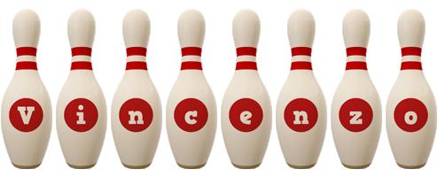 Vincenzo bowling-pin logo
