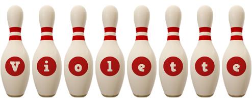 Violette bowling-pin logo