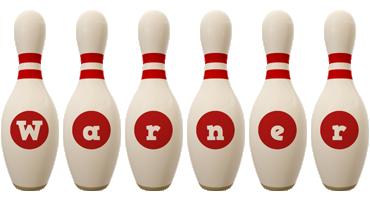 Warner bowling-pin logo