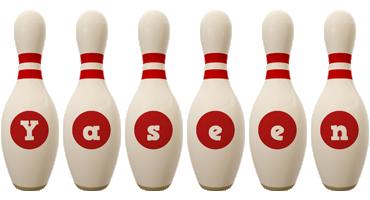 Yaseen bowling-pin logo