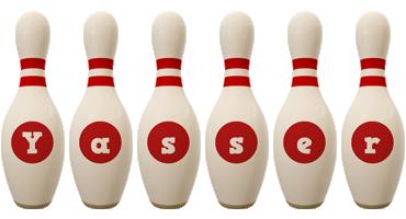 Yasser bowling-pin logo