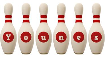 Younes bowling-pin logo