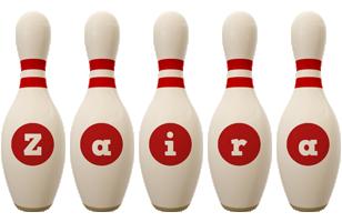 Zaira bowling-pin logo