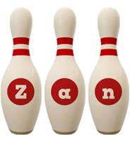Zan bowling-pin logo