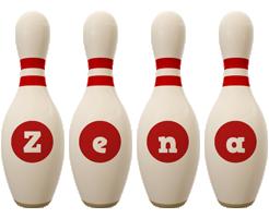 Zena bowling-pin logo