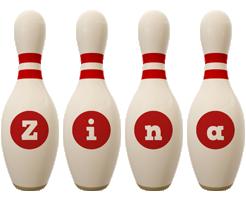 Zina bowling-pin logo