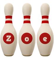 Zoe bowling-pin logo